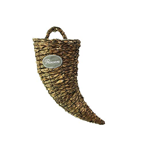 HFLove Creative Horn-Shaped Decorative Flower Basket Vase Wicker Hand-Woven Wall Hanging Flower Basket Rustic Style Flower Basket