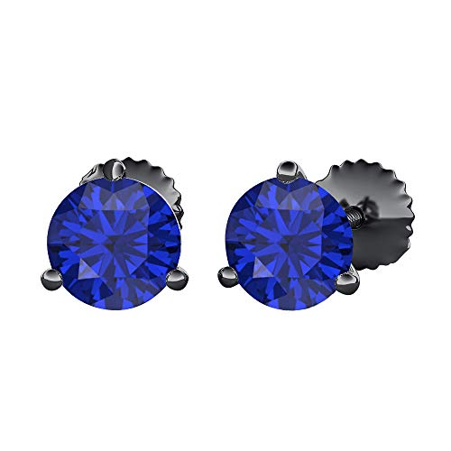tusakha Round Cut Created Blue Sapphire (6MM) Solitaire Stud Earrings 14K Black Gold Over .925 Sterling Silver For Women's ()