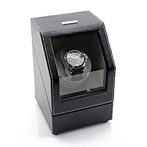 [ON Sale] Heiden Battery Powered Single Watch Winder in Black Leather