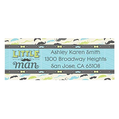Custom Dashing Little Man - Personalized Mustache Themed Party Return Address Labels - Set of 30