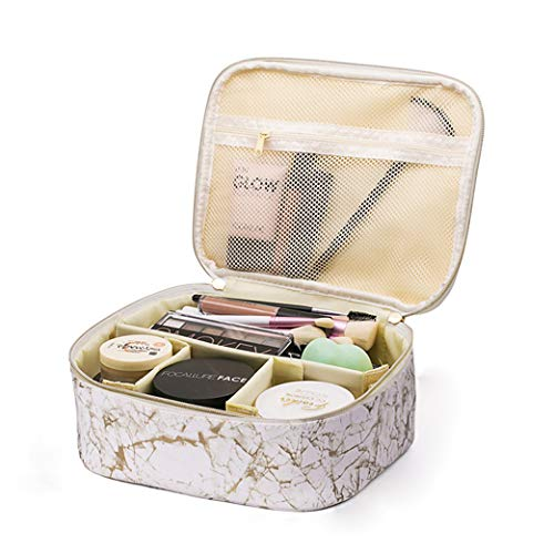 Travel Makeup Cosmetic Case,Portable Brushes Case Toiletry Bag Travel Kit Organizer Cosmetic Bag B Marbly Golden