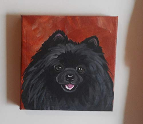 - Black Pomeranian Dog Hand Painted Collectible Magnet