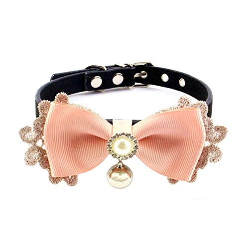 PetFavorites Bling Rhinestone Lace Bow Tie Cat Dog Collar with Bell for Small Dogs Female Kitten - Chihuahua Yorkie Clothes Accessories Costume Outfits, Adjustable and Handmade (Pink Lace, Size M)