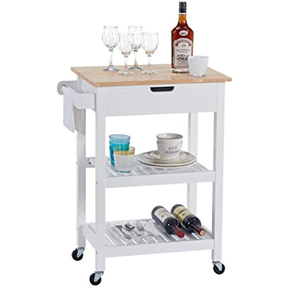 Details about Linio-home Microwave Carts Rolling Kitchen Island Wheels,  White Storage Drawers,