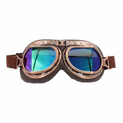 Vintage RAF Aviator Pilot Goggles Motorcycle Cruiser Chopper Biker Copper Frame Multi Lens (Tinted)