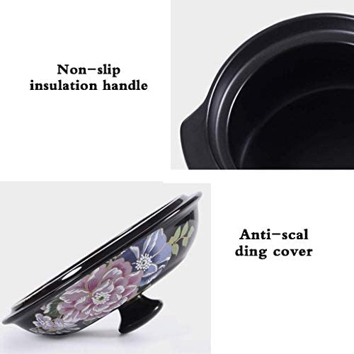 XIAOWEI Casserole Cookware China Style Flower Printing Casserole en céramique Marmite Anti-Warp Fashion Dutch Oven (Taille: 3.5L)