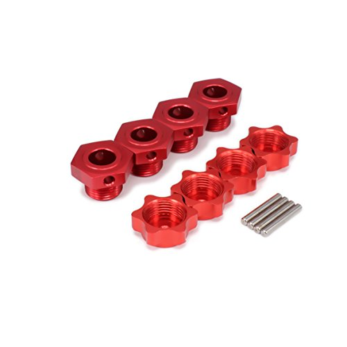 (RCAWD Anti-Dust Cover M17 17mm Wheel Hex Hubs Adapter Nut Pin T10124 Aluminum for 1/8 RC Hobby Model Car HPI HSP Traxxas Losi Axial Kyosho Tamiya Redcat Himoto 4Pcs(Red))