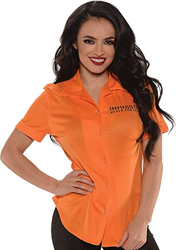 Underwraps Women's Prisoner Fitted Shirt, Orange, Small ()