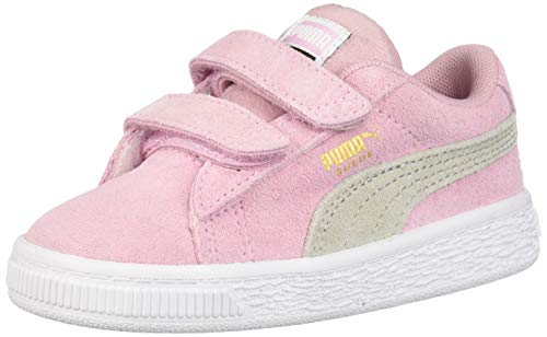 PUMA Girls' Suede Classic Velcro Sneaker Pale Pink-Gray Violet 1.5 M US Little Kid