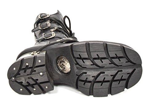 Alto Diseño Tacón Rock Negro New Hebilla Cuero Cordones De Botas Zapatos Estilo Rockstar dXd8qxgz