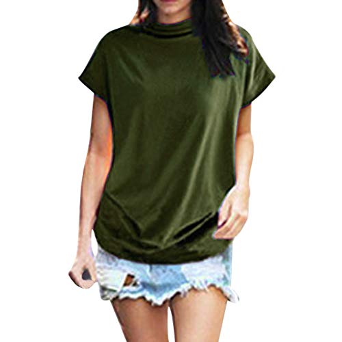New in Summer Haalife◕‿Women Turtleneck Short Sleeve Top Fashion Irregular Blouse T Shirt Casual Oversize Tunic Tops Army Green ()