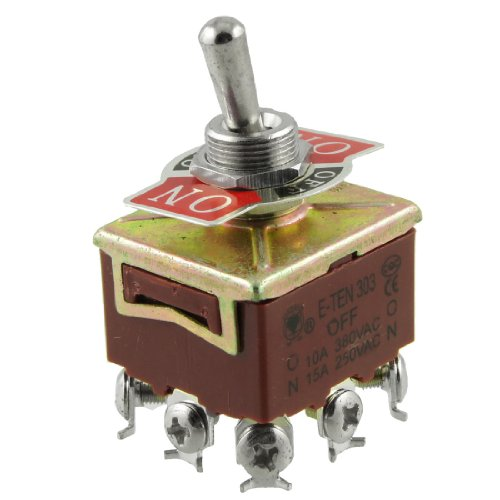 Uxcell a12031300ux0399 Toggle Switch, 3PDT On/Off/On 3 Postion 9 Screw Terminals, AC 250V 15 Amp ()