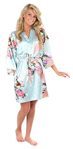 VEAMI Women's Kimono Robe, Peacock Design, Short