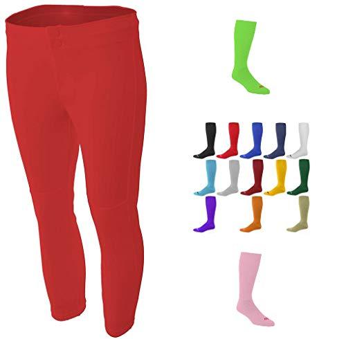 Combo Girls Softball Red Large Pants & Black Socks (Polypro Womens Pants)