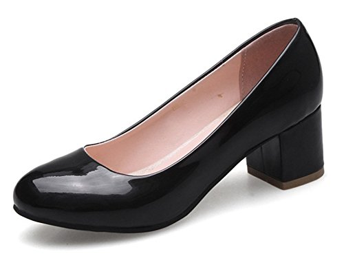 SFNLD Women's Cute Slip On Round Toe Low Cut Block Heel Pump Black 9 B(M) ()