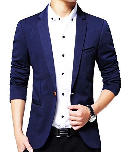 Men's Slim Fit Casual One Button Formal Suit Blazer Coat Jacket Navy US Small/Label XX-Large