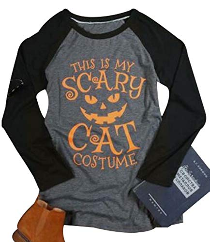 ff95e09e42c NANYUAYA Women This is My Scary Cat Funny Costume Halloween Shirt Top  Raglan Sleeve Size XXL