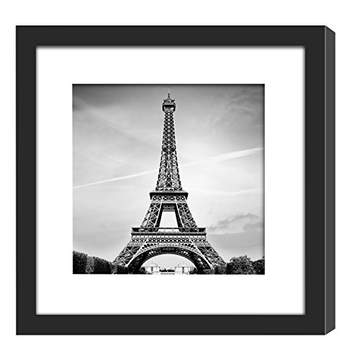 11x11 Picture Frame Black with 2 Mats for 8x8 or 4x4 Pictures, Wood Instagram Square Photo Frame