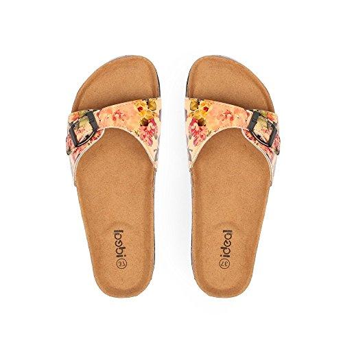 Ideal Shoes Lack Neckholder-Fuß mit schönem Blumendekor Salma Beige