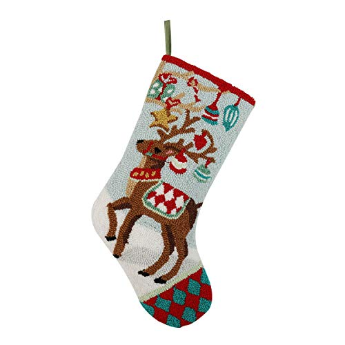 Alice Doria 21 Handmade Hooked Reindeer Christmas Stocking with Beautifully Detailed Pattern