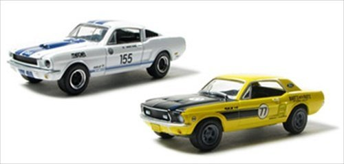 (Road Racers 1967 Ford Mustang & 1965 Shelby GT-350 2pc Car Set WITH CASES 1/64 by Greenlight 24630M)