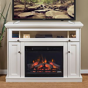 white fireplace media console - 6