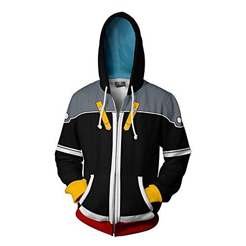 (VOSTE Sora Costume Halloween Cosplay Zip Up Hoodie Jacket (Medium, Color)