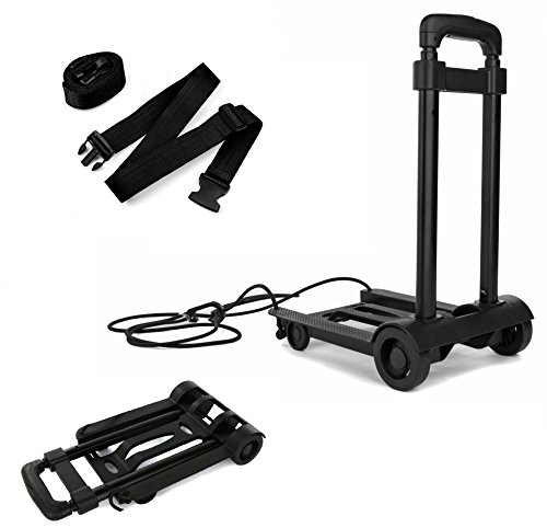 Folding Compact Lightweight Luggage Cart - 2 Buckle Straps Included- Travel Trolley - Multi Use (Cart + 2 Straps)
