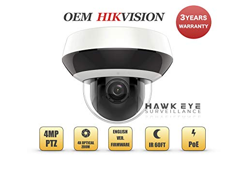 4MP PoE Mini PTZ Camera - Compatible with Hikvision DS-2DE2A404IW-DE3 Indoor and Outdoor IR 4X Optical Zoom (Free PoE Injector Included)