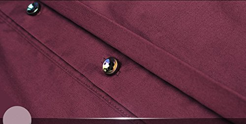 FANZHUAN Long Sleeve Shirts for Men Wine Red Wedding Dress Shirt Slim Fit