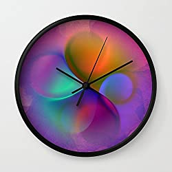 Society6 Crossing Colors -a- Wall Clock Black Frame, Black Hands