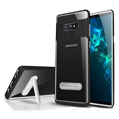 Galaxy Note 9 Case, Hayder Clear Kickstand Slim Fit Dual Layer Protective Hard Cover (Black)