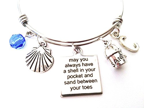 (Seashell wish/Beach/Ocean themed personalized bangle bracelet. Antique silver charms and a genuine Swarovski birthstone colored element.)