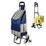 Ablea Carro Compra Plegables 6 Ruedas, Carrito Compra Subir Escaleras, Cada Lado 3 Ruedas, Impermeable 39.4L,Capacidad de Carga de 50 kg,Azul