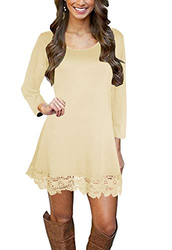 Afibi Women's Long Sleeve A-Line Lace Stitching Trim Casual Dress (Small,Light Yellow)