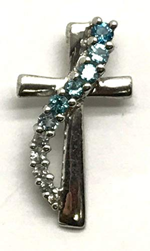 Sterling Silver Blue Aquamarine - Diamond Accent Petite Religious Cross Pendant DI-1026