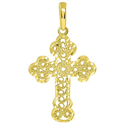 Solid 14k Yellow Gold Filigree Eastern Orthodox Cross Pendant