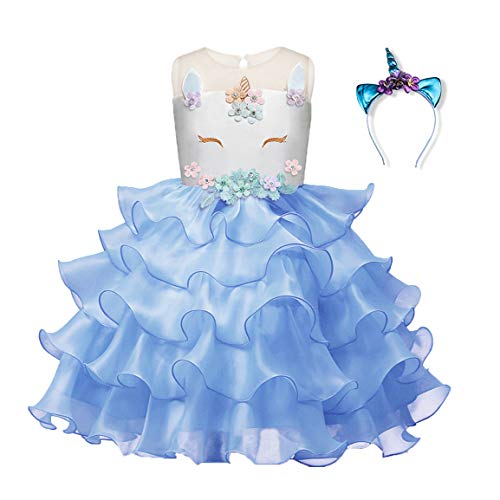 Blevonh Tea Party Dress for Girls Kids O-Neck Special Occasions Unicorn Gown Knee Length Soft Fabric Soft Comfy Daddy-Daught Prom Party Dress with Headband Sky Blue 130(6 Years) ()
