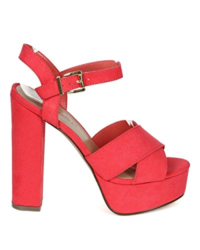 Breckelles CD96 Women Suede Peep Toe Cross Band Platform Chunky Heel Sandal - Grapefruit (Size: 11)