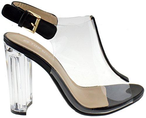 3b74a17cb1f Top Moda Fenton 1 Womens Clear Chunky Heel Peep Toe Lucite Sandals,5 B(M)  US,Black