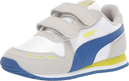 PUMA Baby Cabana Racer Velcro Sneaker, White-Galaxy Blue-Gray Violet-Nrgy Yellow, 8 M US Toddler