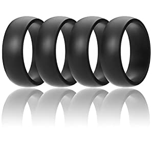 ROQ Silicone Wedding Ring For Men By Affordable Silicone Rubber Band, 4 Pack - Black - Size 10