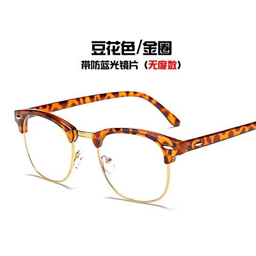de Tofu plata KOMNY Pudding del y gafas negro Color marea Equipo brillante azul Gafas anillo Golden gafas Circle bastidor radiación pqwqxZOg0