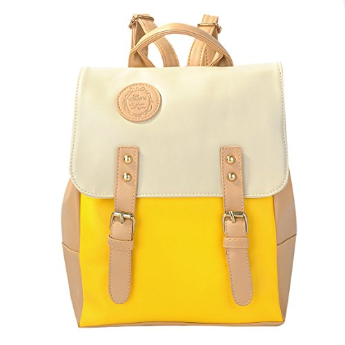 Coofit® New Retro Vintage Women's Backpack School Bag Fashion Travel School Pu Leather Handbag (Candy Yellow)