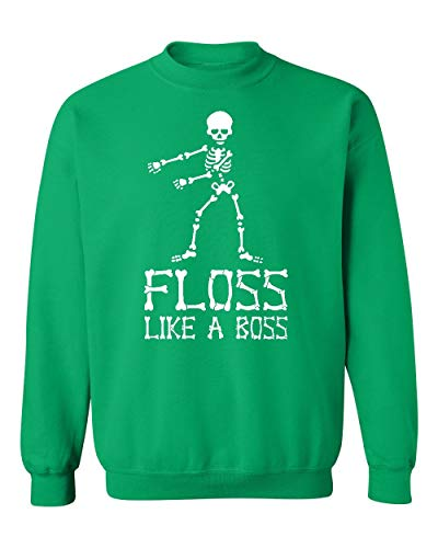 (Floss Like A Boss Funny Dance Halloween Crewneck Sweatshirt, 2XL,)