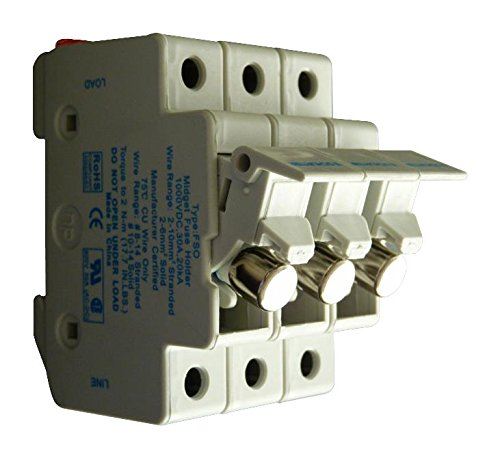 SCHURTER 91.0003 Fuseholder, DIN Rail, 600V, 30A, 10.3 x 38mm, 3 Pole, IP20