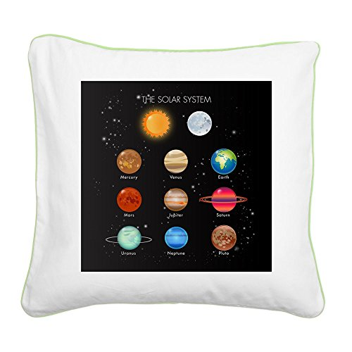 Square Canvas Throw Pillow Key Lime Solar System Sun Moon and Planets by Royal Lion