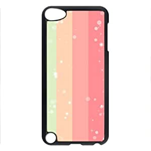 iCustomonline Colorful Rectangle Hard Shell Durable PC Black Back Case Cover for iPod Touch 5