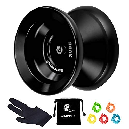 MAGICYOYO Professional Unresponsive Yoyo Y01 Node, Metal Aluminum Yo Yo for Advanced Player, Superior Stable, + 30% Sleep Time, + 5 Replacement Yoyo Strings, Yoyo Bag, Glove (Black)