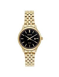 Seiko SUR778 Women's Stainless Steel Gold Bracelet Band Black Dial Watch